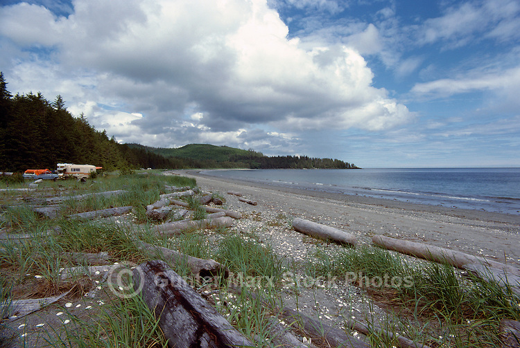 Haida Gwaii (Queen Charlotte Islands), Northern BC, British Columbia, Canada - Agate Beach and Campground along McIntyre Bay, Naikoon Provincial Park, Graham Island