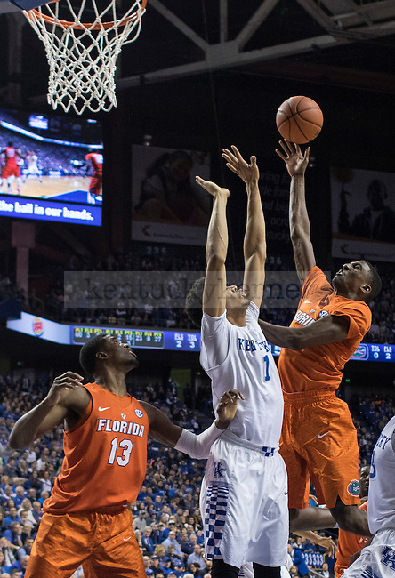 Forward Skal Labissiere attempts to block a shot during the game against the Florida Gators at Rupp Arena on February 6, 2016 in Lexington, Kentucky. Kentucky defeated Florida 80-61.