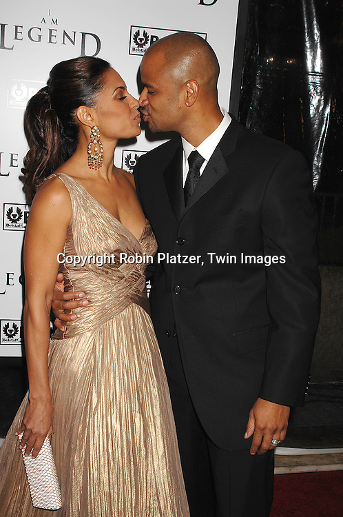 """Salli Richardson  and husband Dondre Whitfield, who was on soaps .arriving at The New York Premiere of""""I Am Legend"""" on .December 11, 2007 at The Theatre at Madison Square Garden. The movie stars Will Smith. .Robin Platzer, Twin Images"""