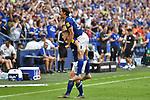31.08.2019, VELTINS-Arena, Gelsenkirchen, GER, DFL, 1. BL, FC Schalke 04 vs Hertha BSC, DFL regulations prohibit any use of photographs as image sequences and/or quasi-video<br /> <br /> im Bild Jonjoe Kenny (#20, FC Schalke 04) jubelt nach seinem Tor zum 3:0 mit Benjamin Stambouli (#17, FC Schalke 04) <br /> <br /> Foto © nordphoto/Mauelshagen