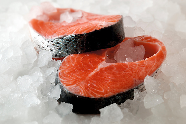 Fresh Salmon steaks - stock photos