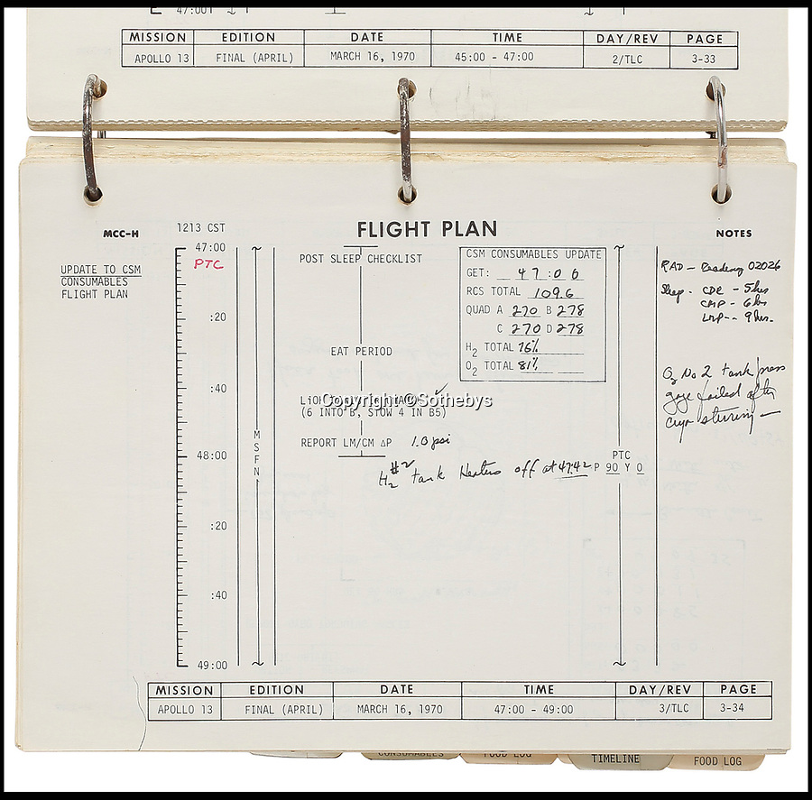 BNPS.co.uk (01202 558833)<br /> Pic: Sothebys/BNPS<br /> <br /> The flight plan for the ill-fated Apollo 13 space mission that had to be rapidly adjusted after the 'Houston we have a problem' explosion on board has been unearthed.<br /> <br /> The historic document has annotations by all three crew members recording in detail the actions taken during the mission, including crucial changes to the plan after and the steps they took which saved their lives.<br /> <br /> It was presented by mission commander Jim Lovell - played by Tom Hanks in the 1995 - to the lead flight planner Robert 'Bob' Lindsey following their return to the earth.<br /> <br /> The document has remained in the family of 'Bob' Lindsey for the past 47 years who have now decided to put it up for auction with an estimate price of £30,000.