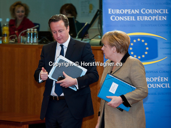 Brussels-Belgium - December 14, 2012 -- European Council, EU-summit meeting of Heads of State / Government; here, David CAMERON (le), Prime Minister of the United Kingdom, with Angela MERKEL (ri), Federal Chancellor of Germany, on the second day of the European Summit -- Photo: © HorstWagner.eu