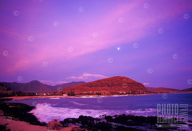 Pokai bay at sunset, Waianae, leeward or westside of Oahu