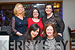 Health care assistants from the Bon Secours hospital, Tralee dined together in La Scala, Tralee for the Christmas party (seated) l-r: Claire Galvin and Jane Lomasney. Back l-r: Susan Browne, Annamarie O'Connor and Joanne Houlihan.
