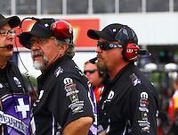 Apr 26, 2015; Baytown, TX, USA; John Medlen co crew chief for NHRA funny car driver Jack Beckman during the Spring Nationals at Royal Purple Raceway. Mandatory Credit: Mark J. Rebilas-