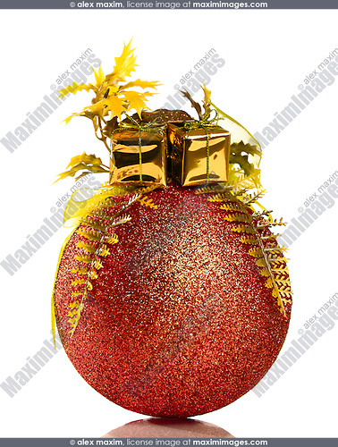 Red and gold Christmas ornament isolated on white background