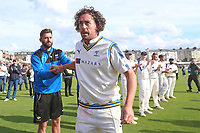 Ryan Sidebottom of Yorkshire leaves the field at the end of the match during Yorkshire CCC vs Essex CCC, Specsavers County Championship Division 1 Cricket at Scarborough CC, North Marine Road on 7th August 2017