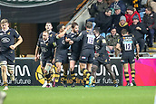 2nd December 2017, Rioch Arena, Coventry, England; Aviva Premiership rugby, Wasps versus Leicester; The Wasps team congratulate Elliot Daly of Wasps for scoring a try 25-22