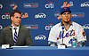 Wilson Ramos, newly-signed New York Mets catcher, right, and general manager Brodie Van Wagenen field questions from the media during Ramos' introductory news conference at Citi Field in Flushing. NY on Tuesday, Dec. 18, 2018.
