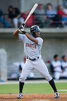 John Shelby III #12 of the Birmingham Barons at bat versus the Carolina Mudcats at Five County Stadium August 15, 2009 in Zebulon, North Carolina. (Photo by Brian Westerholt / Four Seam Images)