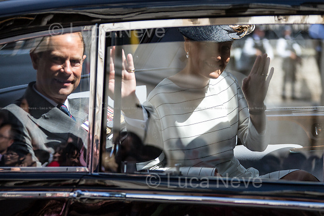 Prince Edward Earl of Wessex &amp; his wife Sophie Countess of Wessex.<br /> <br /> London, 15/08/2015. Today, the 70th Anniversary of the VJ Day (Victory over Japan Day - also known as Victory in the Pacific Day, V-J Day, or V-P Day - is the day on which Japan surrendered in World War II, in effect ending the II World War) was marked in Central London. The Commemoration started with a Saturday's service at St Martin-in-the-Fields church in Trafalgar Square attended by Her Majesty the Queen Elizabeth II (accompanied by The Duke of Edinburgh, The Earl and Countess of Wessex, and The Duke and Duchess of Gloucester), followed by a memorial ceremony at Horse Guard Parade, and finally veterans, war widows and members of their families marched in Whitehall praying and paying their tribute laying wreaths at the Cenotaph.<br /> <br /> For more information please click here: http://bit.ly/1LsUeyQ