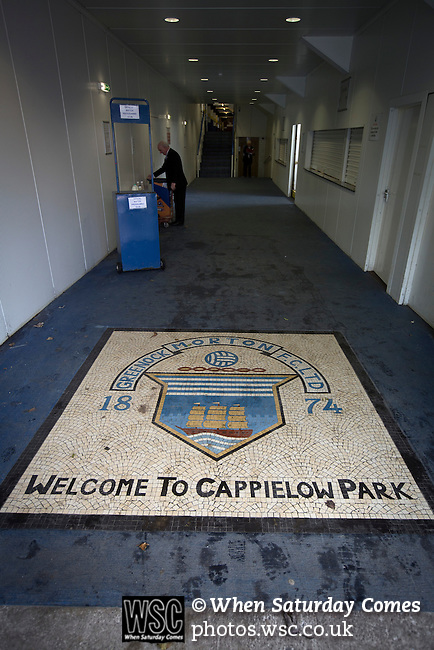 Greenock Morton 2 Stranraer 0, 21/02/2015. Cappielow Park, Greenock. A floor mosaic with the home club's crest inside the stadium, pictured before Greenock Morton take on Stranraer in a Scottish League One match at Cappielow Park, Greenock. The match was between the top two teams in Scotland's third tier, with Morton winning by two goals to nil. The attendance was 1,921, above average for Morton's games during the 2014-15 season so far. Photo by Colin McPherson.