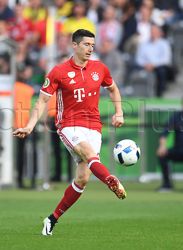 21.05.2016. Berlin, Germany.  Munich's Robert Lewandowski in action during the German DFB Cup final  match between Bayern Munich and Borussia Dortmund at the Olympic Stadium in Berlin,Germany, 21 May 2016.  After a 0-0 end to play, Bayern went on to win the penalty shoot-out by a score of 4-3.