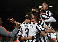 Calcio, Coppa Italia: semifinale di ritorno Fiorentina vs Juventus. Firenze, stadio Artemio Franchi, 7 aprile 2015. <br /> Juventus' Leonardo Bonucci, third from left, celebrates with teammates after scoring during the Italian Cup semifinal second leg football match between Fiorentina and Juventus at Florence's Artemio Franchi stadium, 7 April 2015.<br /> UPDATE IMAGES PRESS/Isabella Bonotto