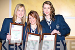 CERTIFICATES: Tina Pierce, Mariah Curtin and Carmel Sayers from the Presentation Secondry School, Tralee with their Kerry Garda Acvhievement Merit Certificate which was  presented to them by Chief Supt Liam Hayes in The Brandon Hotel, Tralee on Friday night. .........