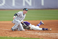 Collin Wolf (4) of the Campbell Camels applies a late tag as Travis Holt (8) of the High Point Panthers steals third base at Williard Stadium on March 16, 2019 in  Winston-Salem, North Carolina. The Camels defeated the Panthers 13-8. (Brian Westerholt/Four Seam Images)
