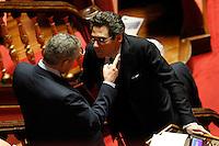 STEFANO PEDICA E MICHAEL MARTONE.Roma 22/12/2011 Senato. Voto di Fiducia sulla Manovra Economica.Votation at Senate about austerity plan. .Photo Samantha Zucchi Insidefoto