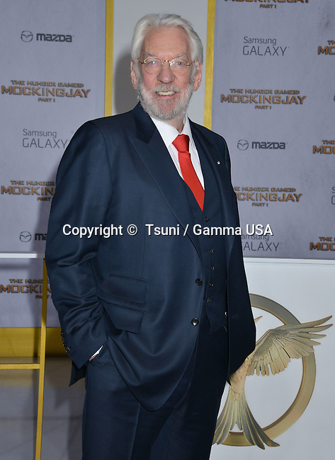 Donald Sutherland 143 at THE HUNGER GAMES, MOCKINGJAY – PART 1 Premiere at the Nokia Theatre on Nov. 17, 2014 in Los Angeles.