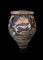 Minoan Kamares Ware jar with natural decorations of fish in a net, Phaistos 1900-1700 BC; Heraklion Archaeological  Museum, black background.<br /> <br /> This pot is one of the earliest known examples of the shift of Minoan art towards depicting the natural world