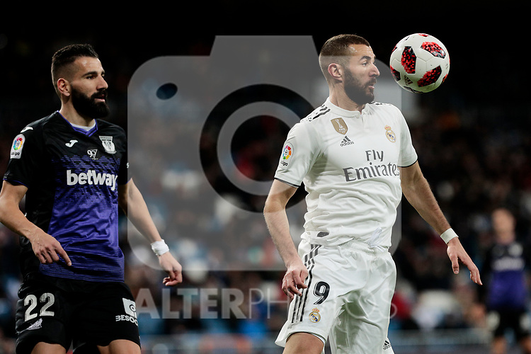 Real Madrid's Karim Benzema and CD Leganes's Dimitrios Siovas during Copa Del Rey match between Real Madrid and CD Leganes at Santiago Bernabeu Stadium in Madrid, Spain. January 09, 2019. (ALTERPHOTOS/A. Perez Meca)
