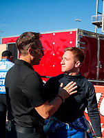 Oct 11, 2019; Concord, NC, USA; NHRA top fuel driver Justin Ashley (right) with father Mike Ashley during qualifying for the Carolina Nationals at zMax Dragway. Mandatory Credit: Mark J. Rebilas-USA TODAY Sports