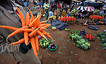 Carrots and other fresh produce being sold in a market in Dedza, Malawi, along the border with Mozambique.