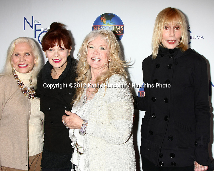 LOS ANGELES - DEC 13:  Maggie Blye, Frances Fisher, Connie Stevens, Sally Kellerman arrives to the 'Saving Grace B. Jones' Premiere at ICM Screening Room on December 13, 2012 in Century CIty, CA