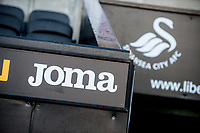 Joma and Swans logo <br /> Re: Behind the Scenes Photographs at the Liberty Stadium ahead of and during the Premier League match between Swansea City and Bournemouth at the Liberty Stadium, Swansea, Wales, UK. Saturday 25 November 2017