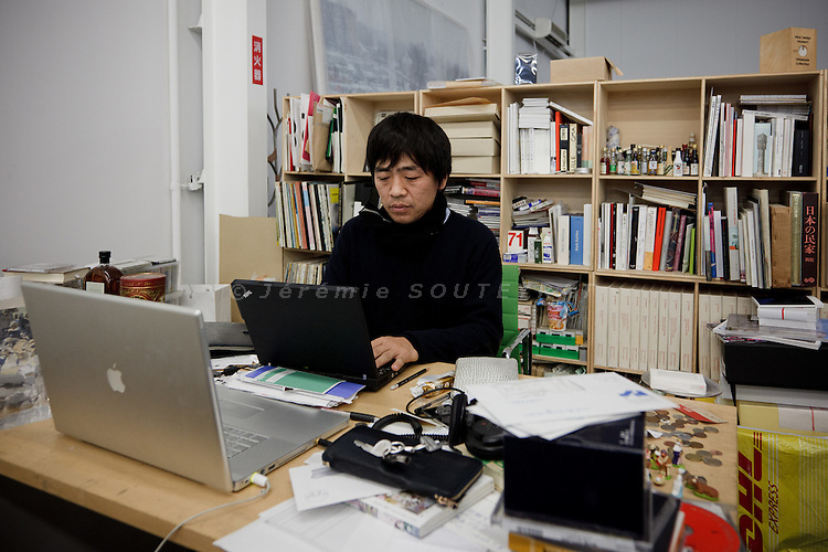 Tokyo, December 9 2010 - Ryue Nishizawa , Japanese architect and half of SANAA, working at his office.