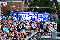 Harrisburg, PA - July 29, 2016: Presidential candidate Hillary Clinton and vice presidential nominee Tim Kaine arrive by bus in Harrisburg, PA, during a campaign stop on the Clinton/Kaine bus tour July 29, 2016.  (Photo by Don Baxter/Media Images International)