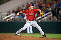 Boston Red Sox relief pitcher Koji Uehara (19) delivers a pitch during a Spring Training game against the Minnesota Twins on March 16, 2016 at Hammond Stadium in Fort Myers, Florida.  Minnesota defeated Boston 9-4.  (Mike Janes/Four Seam Images)