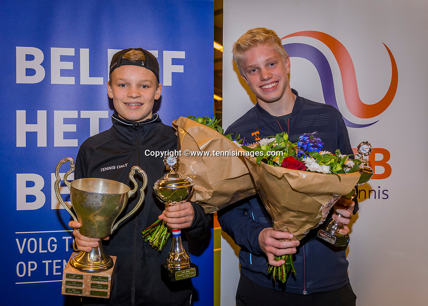 Wateringen, The Netherlands, December 8,  2019, De Rhijenhof , NOJK juniors 14 and18 years, Finals 14 years: Winner boys 14 years Abel Forger (NED) (L) and runner up Lars Wagenaar (NED)<br /> Photo: www.tennisimages.com/Henk Koster