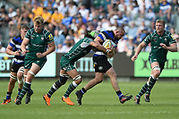 Tom Dunn of Bath Rugby takes on the London Irish defence. Aviva Premiership match, between Bath Rugby and London Irish on May 5, 2018 at the Recreation Ground in Bath, England. Photo by: Patrick Khachfe / Onside Images