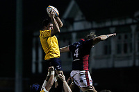 Jake Brady of Yorkshire Carnegie claims the line out during the Championship Cup match between London Scottish Football Club and Yorkshire Carnegie at Richmond Athletic Ground, Richmond, United Kingdom on 4 October 2019. Photo by Carlton Myrie / PRiME Media Images