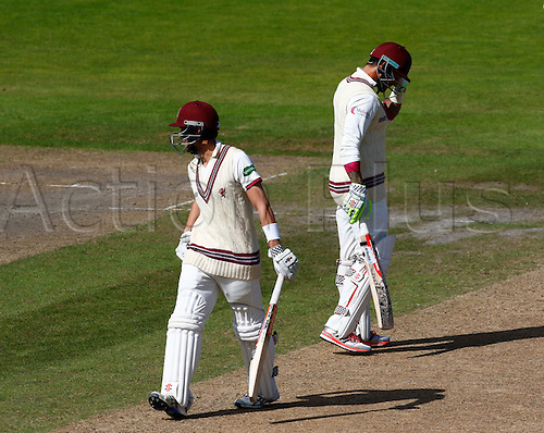 01.09.2016. Old Trafford, Manchester, England. Specsavers County Championship. Lancashire versus Somerset. Peter Trego (right) and Ryan Davies shared a partnership of more than 200 for the 8th Somerset wicket. Somerset started the day on 339-7.