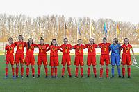 20191204 - TUBEKE , BELGIUM : Belgians (11) Fien Broeckaert, (10) Lore Jacobs , (9) Coline D'Haeyer , (8) Iman Galai , (7) Anouck Bergen , (6) Yara Tassens , (5) Saar Janssen , (4) Lore Schoovaerts , (3) Emely Schapdryver , (1) Lise Van Gemert  , (2) Tinne Broeckaert<br />   pictured during the international friendly female soccer game between the Belgian Flames U15 and Germany , Wednesday 4 th December 2019 at the Belgian Football Centre, Tubeke / Tubize , Belgium. PHOTO SPORTPIX.BE | STIJN AUDOOREN