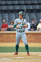 Chad Crosbie (35) of the Miami Hurricanes at bat against the Wake Forest Demon Deacons at David F. Couch Ballpark on May 11, 2019 in  Winston-Salem, North Carolina. The Hurricanes defeated the Demon Deacons 8-4. (Brian Westerholt/Four Seam Images)