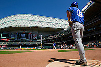 Brian Adams #16 of the Kentucky Wildcats waits in the on deck circle during the game against the Utah Utes at Minute Maid Park on March 6, 2011 in Houston, Texas.  Photo by Brian Westerholt / Four Seam Images