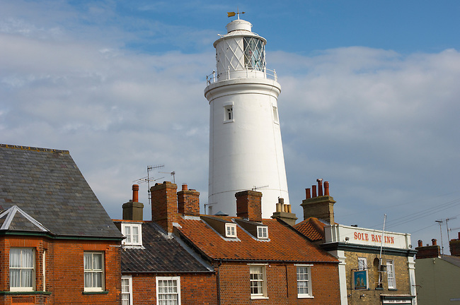 Lighthouse and Sole Bay Brewery pub, Southwold Suffolk, England