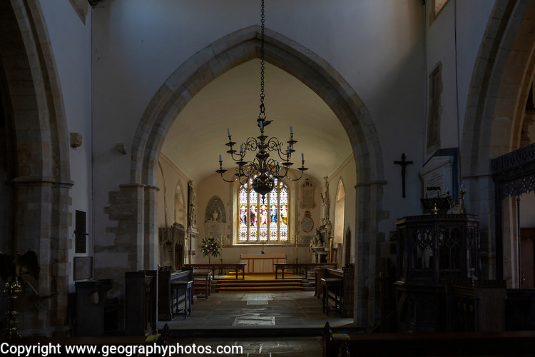 Historic interior of Church of the Holy Cross, Ramsbury, Wiltshire, England, UK