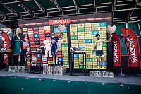 podium:<br /> <br /> 1st place Gianni Vermeersch (BEL/Alpecin-Fenix)<br /> 2nd place Stan Dewulf (BEL/Lotto-Soudal)<br /> 3th place Baptiste Planckaert (BEL/Bingoal-WB)<br /> <br /> Antwerp Port Epic 2020 <br /> One Day Race: Antwerp to Antwerp 183km; of which 28km are cobbles and 35km is gravel/off-road<br /> Bingoal Cycling Cup 2020