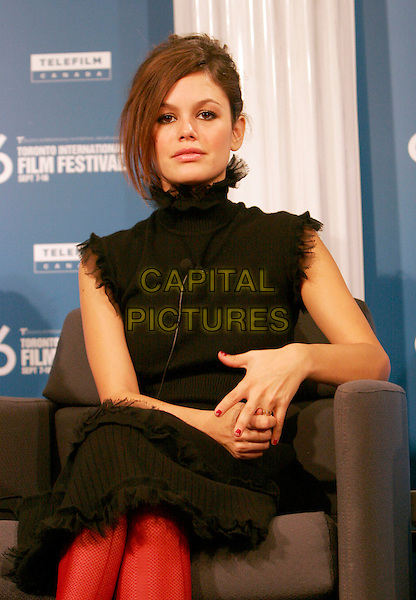 "RACHEL BILSON.""The Last Kiss"" Press Conference during the 2006 Toronto International Film Festival held at Sutton Place Hotel, Toronto, Ontario, Canada,.10 September 2006..half length sitting  black top collar dress red tights legs crossed.Ref: ADM/BP.www.capitalpictures.com.sales@capitalpictures.com.©Brent Perniac/AdMedia/Capital Pictures."