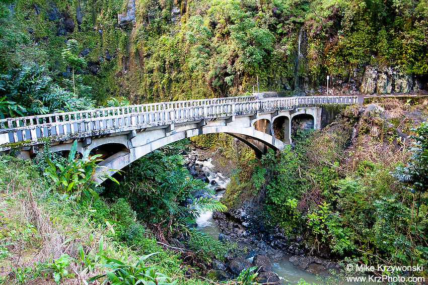 "Historic Bridge at the site of Upper Waikani Falls (A.K.A. ""Three Bears""), on the road to Hana, Maui"