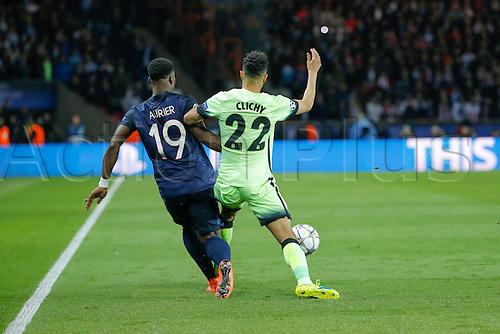 06.04.2016. Paris, France. UEFA CHampions League, quarter-final. Paris St Germain versus Manchester City.   Gael Clichy (Manchester City FC) fouled by Serge Aurier (psg)