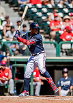 25 February 2019: Atlanta Braves outfielder Ronald Acuna Jr. at bat during a pre-season Spring Training game against the Washington Nationals at Champion Stadium in the ESPN Wide World of Sports Complex in Kissimmee, Florida. The Braves defeated the Nationals 9-4 in Grapefruit League play in what will be their last season at the Disney / ESPN Wide World of Sports complex. Mandatory Credit: Ed Wolfstein Photo *** RAW (NEF) Image File Available ***