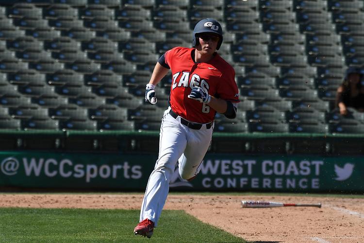 May 25, 2017; Stockton, CA, USA; Gonzaga Bulldogs shortstop Gunnar Schubert during the WCC Baseball Championship at Banner Island Ballpark.