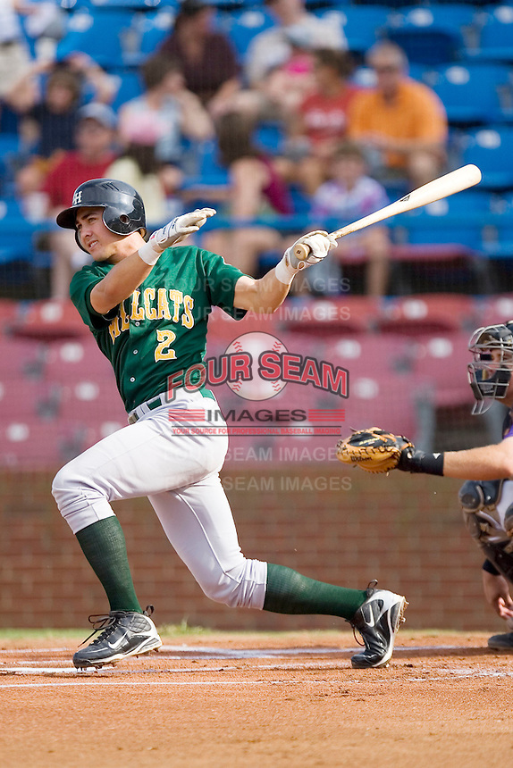 Chase d'Arnaud #2 of the Lynchburg Hillcats follows through on his swing versus the Winston-Salem Dash at Wake Forest Baseball Stadium August 30, 2009 in Winston-Salem, North Carolina. (Photo by Brian Westerholt / Four Seam Images)