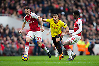 Watford's Richarlison battles for possession with Arsenal's Granit Xhaka <br /> <br /> Photographer Craig Mercer/CameraSport<br /> <br /> The Premier League - Sunday 11th March 2018 - Arsenal v Watford - The Emirates - London<br /> <br /> World Copyright &copy; 2018 CameraSport. All rights reserved. 43 Linden Ave. Countesthorpe. Leicester. England. LE8 5PG - Tel: +44 (0) 116 277 4147 - admin@camerasport.com - www.camerasport.com
