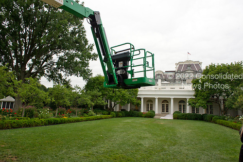 Construction crane in the Rose Garden of the White House looking towards the Oval Office in Washington, DC is undergoing renovations while United States President Donald J. Trump is vacationing in Bedminster, New Jersey on Friday, August 11, 2017.<br /> Credit: Ron Sachs / CNP